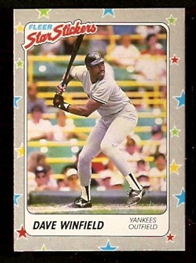NEW YORK YANKEES DAVE WINFIELD 1988 FLEER STAR STICKER CARD # 53