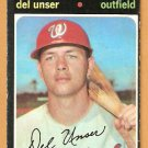 WASHINGTON SENATORS DEL UNSER 1971 TOPPS # 33 VG+