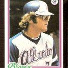 ATLANTA BRAVES JEFF BURROUGHS 1978 TOPPS # 130 EX