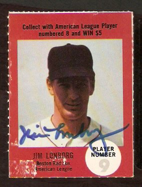 BOSTON RED SOX JIM LONBORG AUTOGRAPHED 1968 ATLANTIC OIL GAME CARD # 9