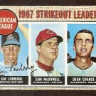 STRIKEOUT LDR BOSTON RED SOX LONBORG autographed CLEVELAND INDIANS MINNESOTA TWINS 1968 TOPPS # 12