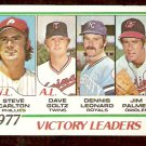 VICTORY LEADERS PHILLIES STEVE CARLTON ORIOLES JIM PALMER TWINS GOLTZ ROYALS 1978 TOPPS # 205 VG