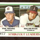 STRIKEOUT LEADERS CALIFORNIA ANGELS NOLAN RYAN ATLANTA BRAVES PHIL NIEKRO 1978 TOPPS # 206 EX+