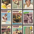 1977 TOPPS SAN DIEGO PADRES TEAM LOT {22} DAVE WINFIELD BOBBY VALENTINE WILLIE DAVIS RANDY JONES +++