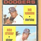 LOS ANGELES DODGERS ROOKIE STARS BOBBY VALENTINE MIKE STRAHLER 1971 TOPPS # 188 fair/good
