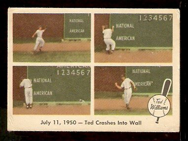 1959 FLEER TED WILLIAMS # 40 TED CRASHES INTO WALL good BOSTON RED SOX