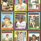 TEXAS RANGERS 11 DIFF 1975 TOPPS HARRAH GRIEVE TEAM CARD CLYDE RANDLE +