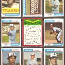 MONTREAL EXPOS 14 DIFF 1974 TOPPS WILLIE DAVIS TEAM CARD RON HUNT +