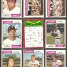 CALIFORNIA ANGELS 11 DIFF 1974 TOPPS VADA PINSON ELLIE RODRIGUEZ STANTON HAND +