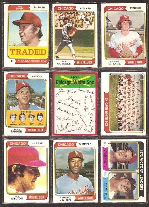 CHICAGO WHITE SOX 18 DIFF 1974 TOPPS RON SANTO RICH GOSSAGE STEVE STONE JETER TEAM CARD CHUCK TANNER
