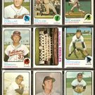 BALTIMORE ORIOLES 10 DIFF 1973 TOPPS MARK BELANGER TEAM DON BAYLOR MIKE CUELLAR PAT DOBSON BUFORD +