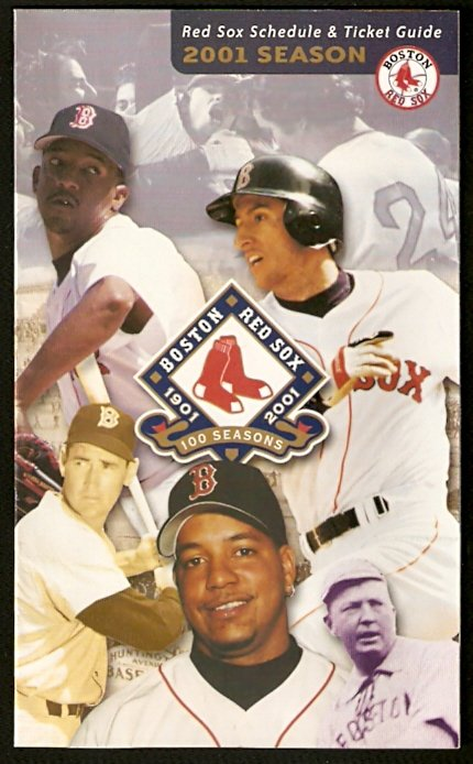 BOSTON RED SOX 2001 TICKET GUIDE TED WILLIAMS NOMAR PEDRO MARTINEZ TONY CONIGLIARO CY YOUNG PHOTO