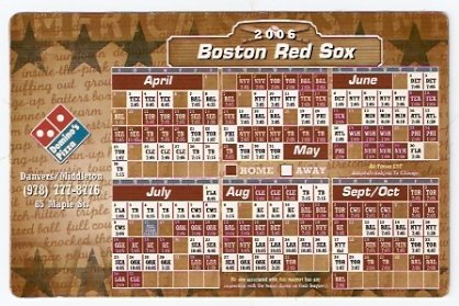 BOSTON RED SOX 2006 MAGNETIC SCHEDULE DOMINO�S PIZZA