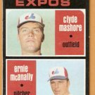 MONTREAL EXPOS ROOKIE STARS CLYDE MASHORE ERNIE McANALLY 1971 TOPPS # 376 good
