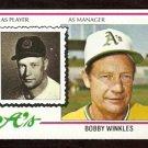 OAKLAND ATHLETICS BOBBY WINKLES 1978 TOPPS # 378