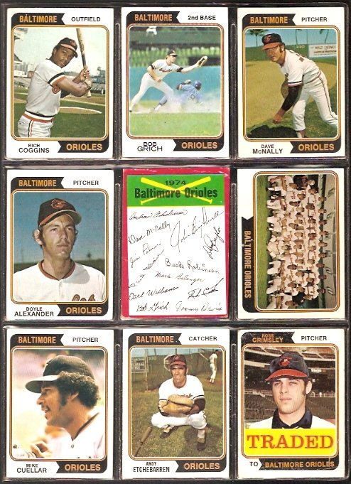 BALTIMORE ORIOLES 13 DIFF 1974 TOPPS BOBBY GRICH TEAM CARD DAVE McNALLY CUELLAR GRIMSLEY CROWLEY +
