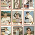 SAN FRANCISCO GIANTS 9 DIFF 1973 TOPPS JUAN MARICHAL TEAM SAM McDOWELL JIM BARR FRAN HEALY HOWARTH