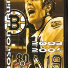 BOSTON BRUINS 2003-04 POCKET SCHEDULE JOE THORNTON PHOTO 80TH SEASON