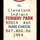 CLEVELAND INDIANS BOSTON RED SOX 1994 TICKET STUB JOHN VALENTIN 5 HITS TROT NIXON
