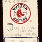 TORONTO BLUE JAYS BOSTON RED SOX 1987 TICKET WADE BOGGS JIM RICE BARFIELD MOSEBY UPSHAW JIMMY KEY