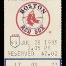 SEATTLE MARINERS BOSTON RED SOX 1985 TICKET DWIGHT EVANS & GORMAN THOMAS HR WADE BOGGS JIM PRESLEY