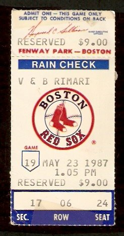 CHICAGO WHITE SOX BOSTON RED SOX 1987 TICKET BANNISTER 2 HITTER BAINES 2 HITS