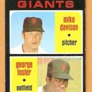 SAN FRANCISCO GIANTS ROOKIE STARS GEORGE FOSTER MIKE DAVISON 1971 TOPPS # 276 EM