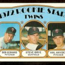 MINNESOTA TWINS ROOKIE STARS STEVE BRYE BOB GEBHARD HAL HAYDEL 1972 TOPPS # 28 EX