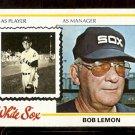CHICAGO WHITE SOX BOB LEMON 1978 TOPPS # 574 VG+