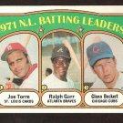 BATTING LDRS CARDINALS JOE TORRE BRAVES RALPH GARR CHICAGO CUBS GLENN BECKERT 1972 TOPPS # 85