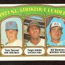 STRIKEOUT LDRS NEW YORK METS TOM SEAVER CHICAGO CUBS FERGIE JENKINS MONTREAL EXPOS 1972 TOPPS 95 EX