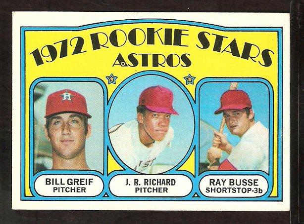 HOUSTON ASTROS ROOKIES STARS J.R. RICHARD BILL GREIF RAY BUSSE 1972 TOPPS # 101 VG/EX