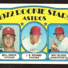 HOUSTON ASTROS ROOKIES STARS J.R. RICHARD BILL GREIF RAY BUSSE 1972 TOPPS # 101 VG/EX