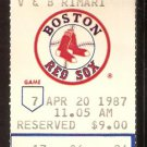 KANSAS CITY ROYALS BOSTON RED SOX 1987 TICKET WADE BOGGS FRANK WHITE SABERHAGEN