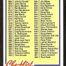 1978 TOPPS # 652 UNMARKED CHECKLIST 606-726 NM
