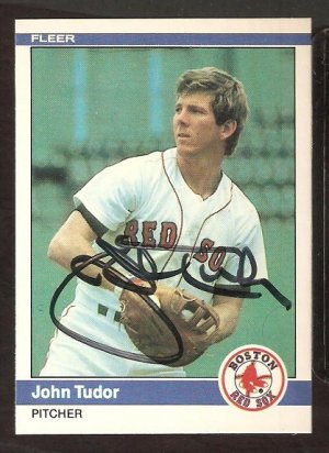 BOSTON RED SOX JOHN TUDOR AUTOGRAPHED 1984 FLEER # 411 NM