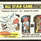 1981 FLEER 1961 ALL STAR GAME STU MILLER WINDBLOWN FENWAY RAINOUT W/ MINNESOTA TWINS STICKER ON BACK
