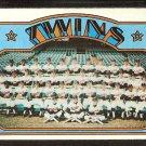 MINNESOTA TWINS TEAM CARD 1972 TOPPS # 156 VG+