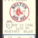 BOSTON RED SOX TEXAS RANGERS 1986 TICKET WADE BOGGS JIM RICE BUECHELE BAYLOR