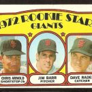 SAN FRANCISCO GIANTS ROOKIE STARS JIM BARR DAVE RADER CHRIS ARNOLD 1972 TOPPS # 232 G/VG