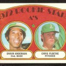 OAKLAND ATHLETICS ROOKIE STARS DWAIN ANDERSON CHRIS FLOETHE 1972 TOPPS # 268 VG/EX