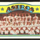 HOUSTON ASTROS TEAM CARD 1972 TOPPS # 282 EX