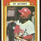 CINCINNATI REDS HAL McRAE IN ACTION 1972 TOPPS # 292 VG+