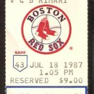 OAKLAND ATHLETICS BOSTON RED SOX 1987 TICKET JIM RICE CANSECO ELLIS BURKS +