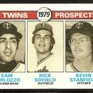 MINNESOTA TWINS ROOKIE PROSPECTS PERLOZZO SOFIELD STANFIELD 1979 TOPPS # 709 EX