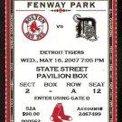 DETROIT TIGERS BOSTON RED SOX 2007 TICKET PAPELBON MANNY RAMIREZ YOUKILIS