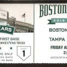 TAMPA BAY RAYS BOSTON RED SOX FENWAY 100th OPENING DAY TICKET 2012 ZOBRIST HR