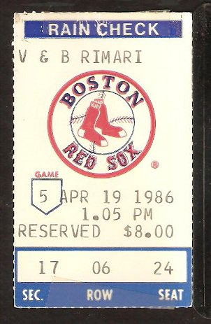 CHICAGO WHITE SOX BOSTON RED SOX 1986 TICKET WADE BOGGS JIM RICE
