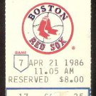 DETROIT TIGERS BOSTON RED SOX 1986 TICKET WADE BOGGS JIM RICE DARNELL COLES HR
