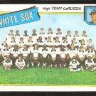 CHICAGO WHITE SOX TEAM CARD W TONY LaRUSSA 1980 TOPPS # 112 EM/NM UNMARKED CHECKLIST
